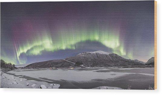 Northern Lights Panoramic Wood Print