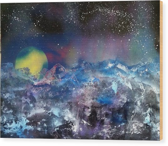 Northern Lights Reflection Wood Print