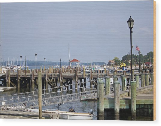 Northport Dock Long Island New York Wood Print