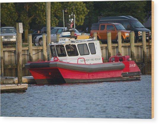 Northport Fire Boat Long Island New York Wood Print