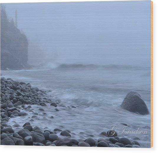 Northshore Fog And Waves Wood Print