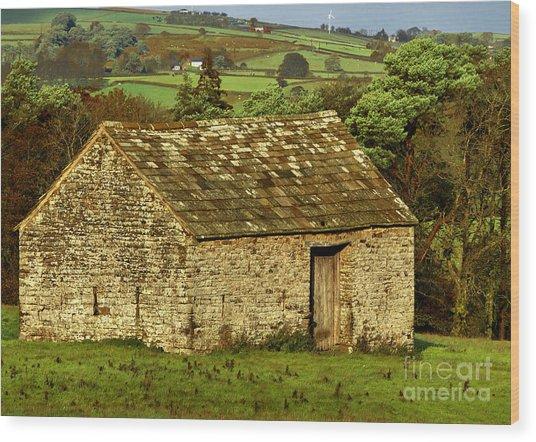 Northumberland Stone Barn Wood Print