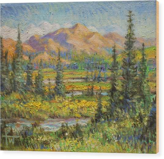 Northwest In The Rockies Wood Print by Henry Potwin