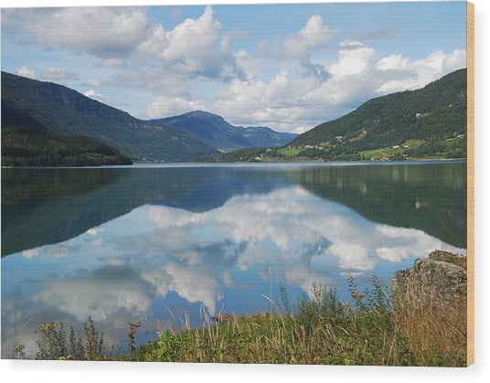 Norwegian Fjord Reflections Wood Print