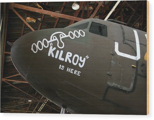 Nose Art Kilroy Was Here Wood Print