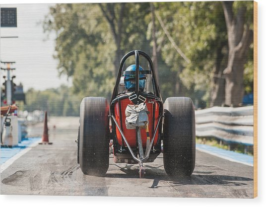 Nostalgia Front Engine Dragster Burnout Wood Print
