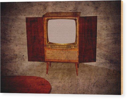 Nostalgia - Old Tv Set Wood Print