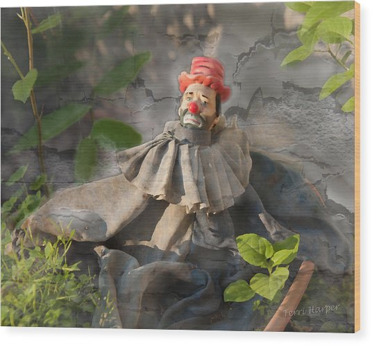Not A Happy Clown Wood Print