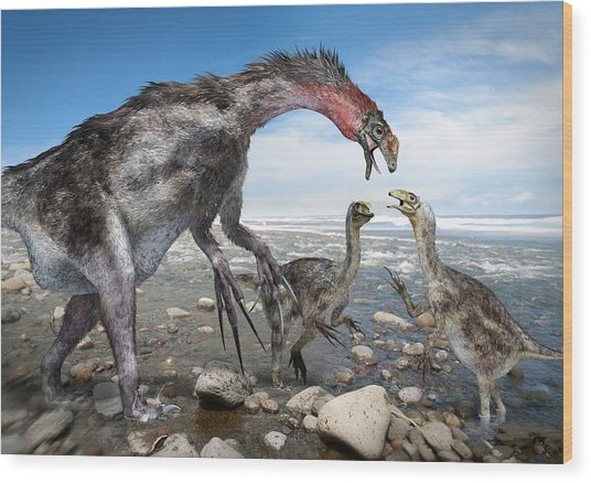 Nothronychus Dinosaur Family, Artwork Wood Print by Science Photo Library