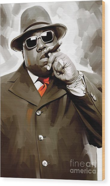Notorious Big - Biggie Smalls Artwork 3 Wood Print