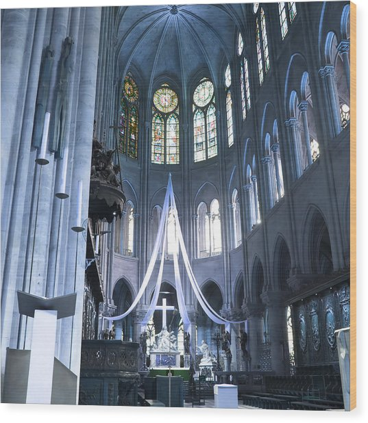 Notre Dame Altar Teal Paris France Wood Print