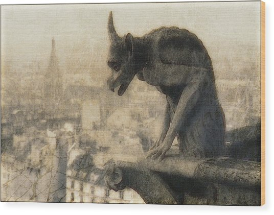 Notre Dame Cathedral Gargoyle Wood Print