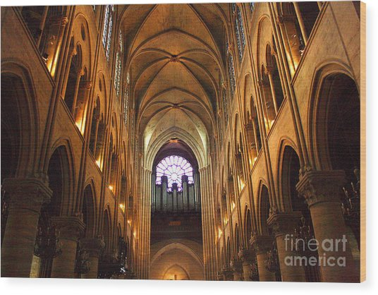 Notre Dame Ceiling Wood Print