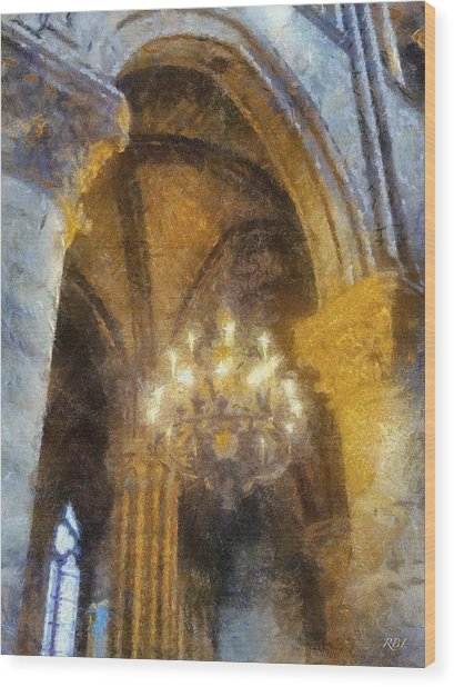 Notre-dame Chandelier Wood Print by Rick Lloyd