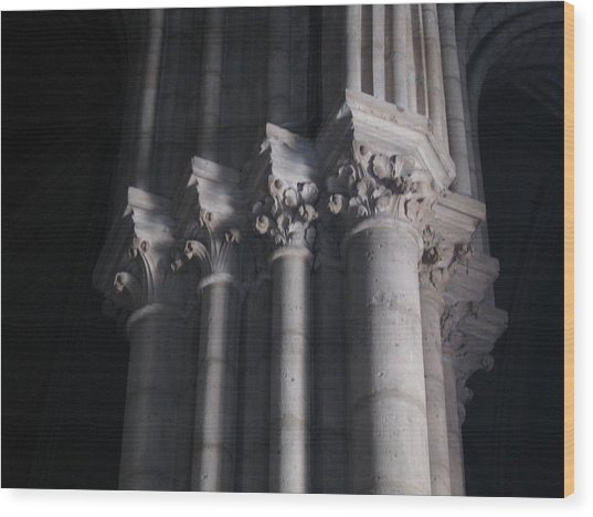 Notre Dame Column Capital Wood Print by Stephanie Hunter