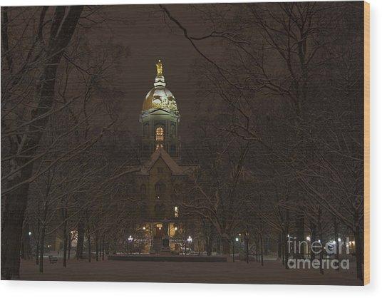 Notre Dame Golden Dome Snow Wood Print