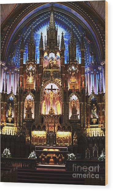 Notre Dame Interior Wood Print by John Rizzuto