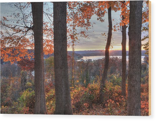 November Morning At The Lake Wood Print