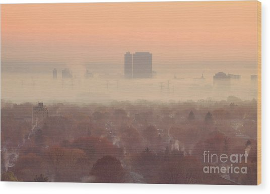 November Morning Fog Wood Print by Charline Xia