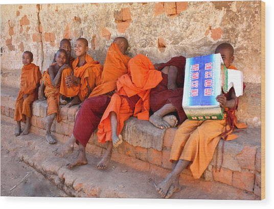 Novice Buddhist Monks Wood Print