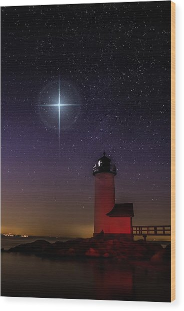 Star Over Annisquam Lighthouse Wood Print