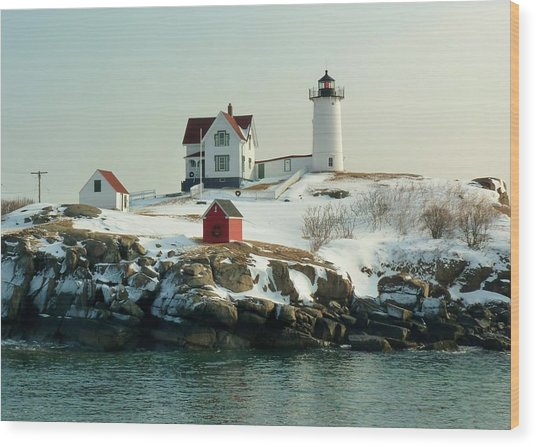Nubble In Winter Wood Print by Elaine Franklin