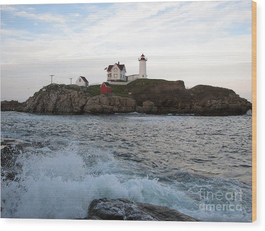 Nubble Light Landscape Wood Print