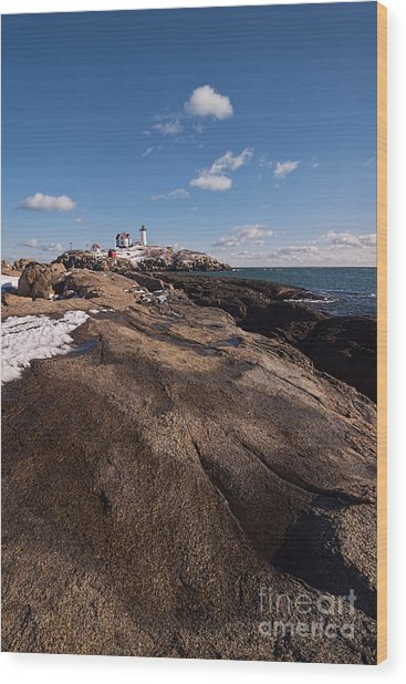 Nubble Light Portrait Wood Print