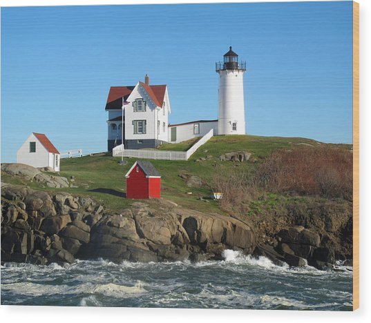 Nubble Lighthouse One Wood Print