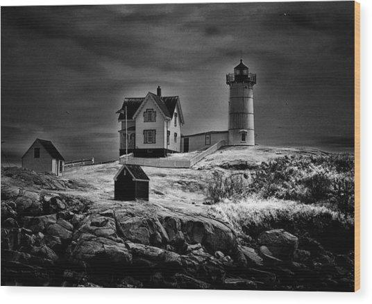 Nubble Night Wood Print
