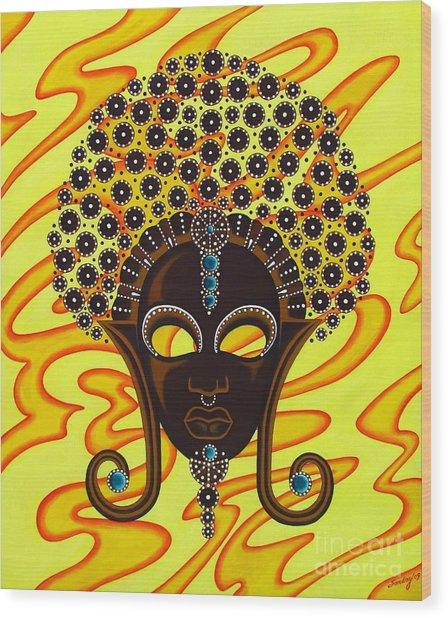 Nubian Modern Afro Mask Wood Print