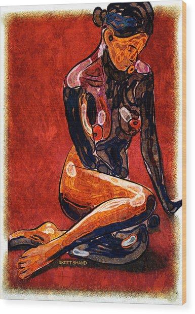 Nude - Woman Sitting Wood Print
