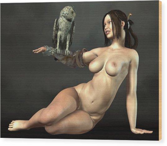 Nude Athena With Owl Wood Print