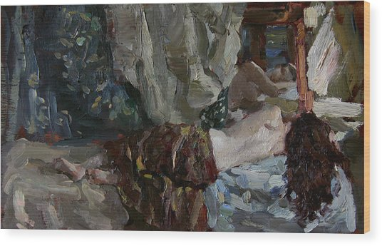 Nude Before The Mirror Wood Print by Korobkin Anatoly