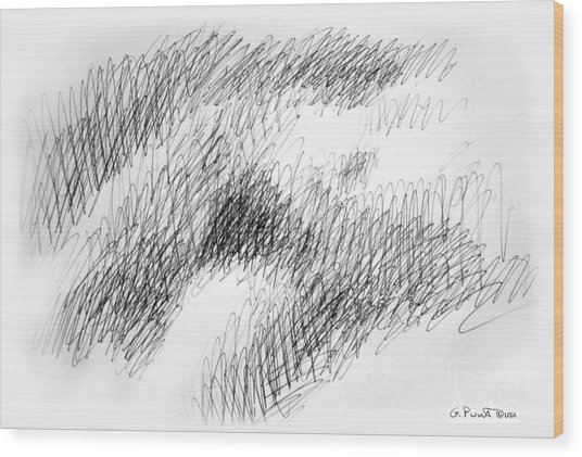 Nude Female Abstract Drawings 1 Wood Print