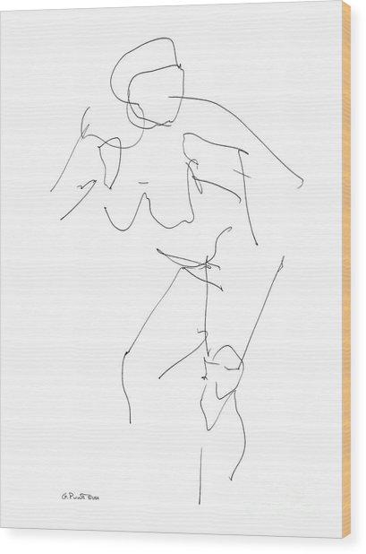 Nude Female Drawings 14 Wood Print