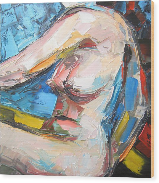 Nude Female Figure Wood Print by Solomoon Art Studio