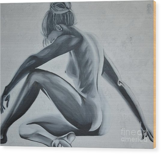 Nude Female - Snowstorm Wood Print by Holly Donohoe