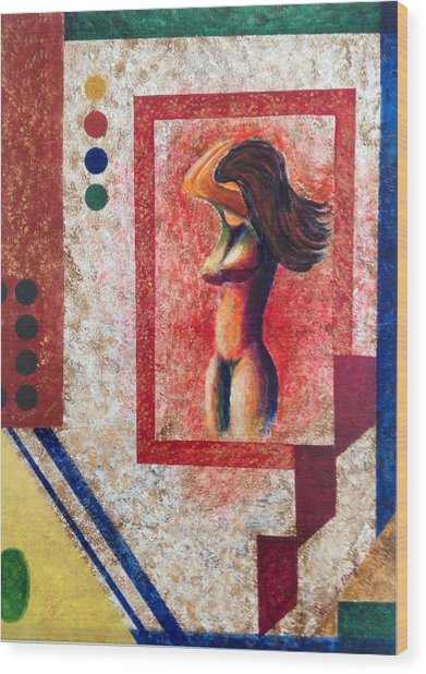 Nude  Girl In Frame  Wood Print