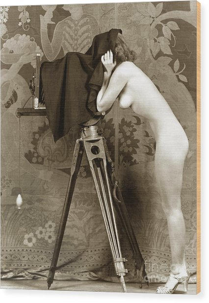Nude In High Heel Shoes With Studio Camera Circa 1920 Wood Print