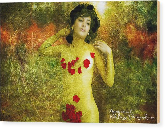 Nude In The Forest Wood Print by Rick Buggy