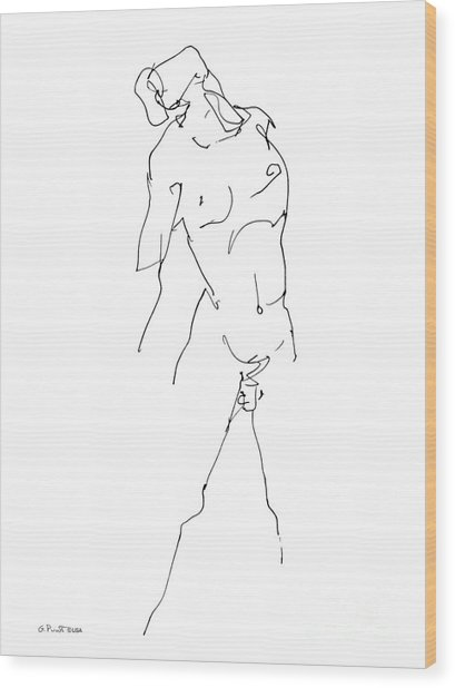 Nude-male-drawing-11 Wood Print