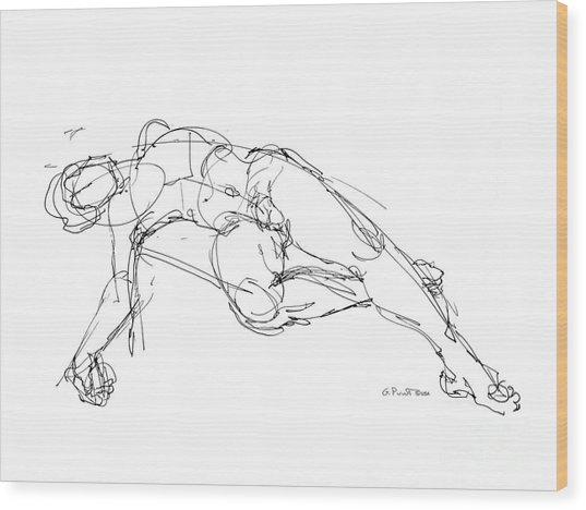 Nude Male Drawings 1 Wood Print
