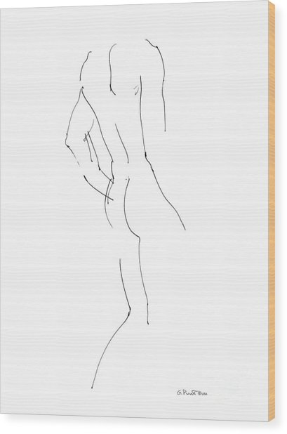Nude Male Drawings 2 Wood Print