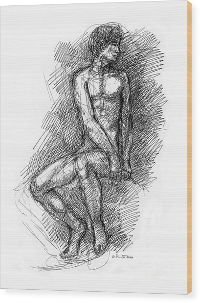 Nude Male Sketches 1 Wood Print