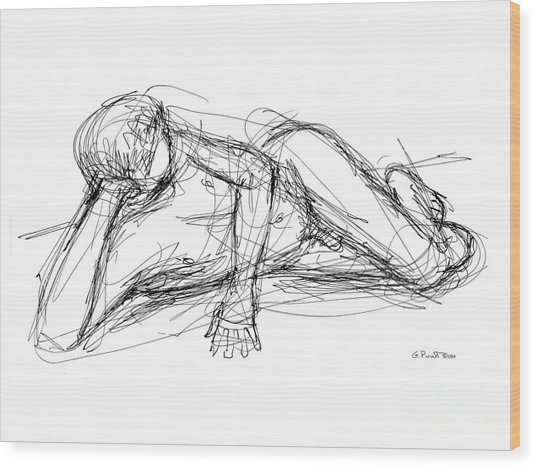 Nude Male Sketches 5 Wood Print