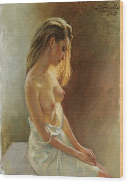 Nude Model Wood Print
