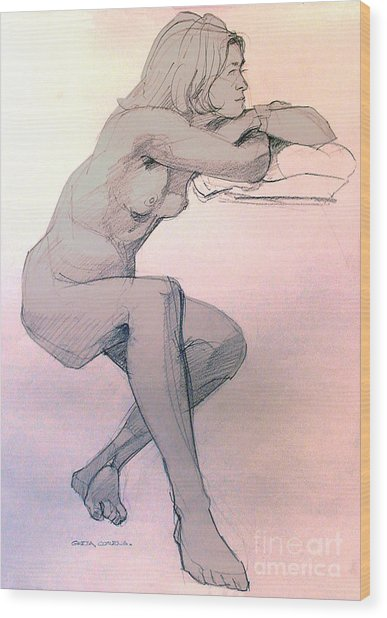 Nude Of A Dreamy Young Woman Wood Print