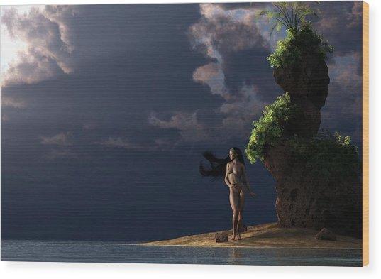 Nude On A Beach Wood Print
