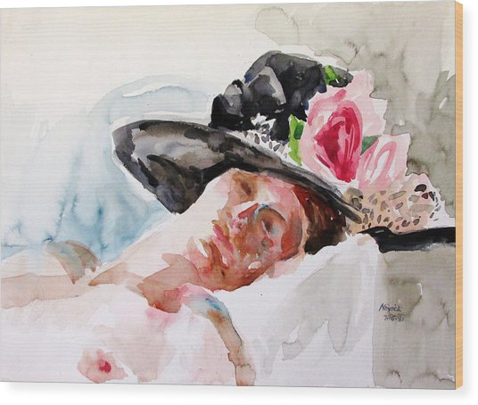 Nude With Flowered Hat Wood Print